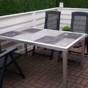 Havebord med beton fliser 160 x 90 x 73