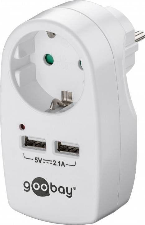 Stikdåse - 230V + 2 x 5V USB